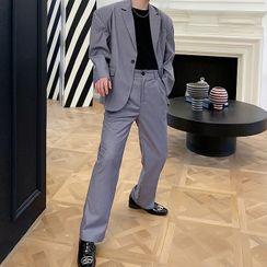 ANCHO - Single-Breasted Blazer / Wide-Leg Dress Pants / Set