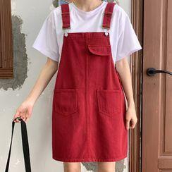 Costana - Denim Mini A-Line Overall Dress