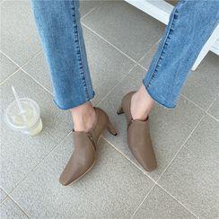 DEWA - Plain Square-Toe Zip Chunky Heel Shoes