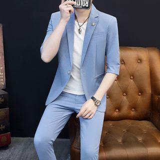 Boham - Set: Single-Button Elbow-Sleeve Blazer + Cropped Straight-Fit Pants