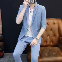 Boham - 套装: 单钮扣中袖西装外套 + 九分直身裤
