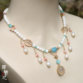 Kanzashi - Retro Faux Pearl Pendant Necklace