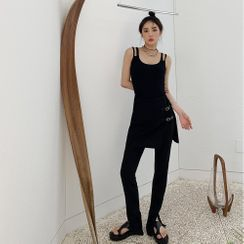 PPGIRL - Inset Buckled Mini Skirt Straight-Cut Pants
