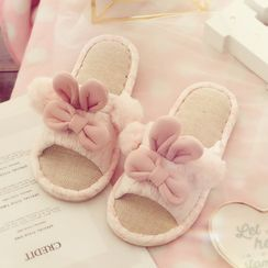 Ifish House - Rabbit Ear Applique Furry Slippers