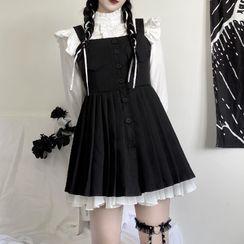 LINSI - Bell-Sleeve Blouse / Mini A-Line Overall Dress / Skirt / Belt / Set