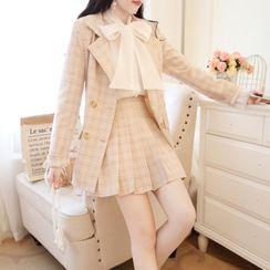 Chiffon Soda - Tie-Neck Blouse / Check Blazer / Pleated Skirt / Set