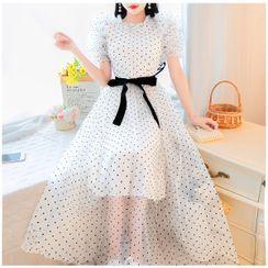 Petit Lace - 泡泡袖圆点网纱连身长裙