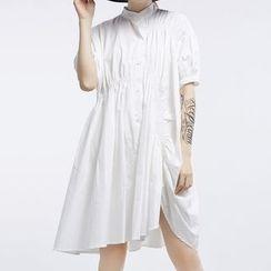 Ultra Modern - Side Slit Elbow-Sleeve Babydoll Dress