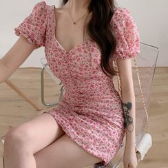 Caocaosuit - Balloon-Sleeve Floral Print Mini Sheath Dress