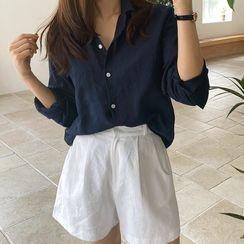 NIPONJJUYA - Pocket-Front Linen Blend Shirt