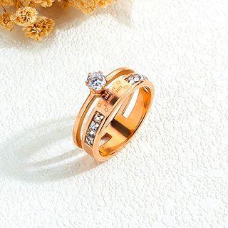 Tenri - Stainless Steel Rhinestone Layered Ring