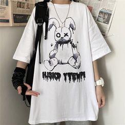 Mushini - Couple Matching Elbow-Sleeve Print T-Shirt