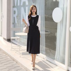 CLICK - Tie-Waist Crystal-Pleat Long Overall Dress