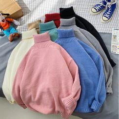 VEAZ - Turtleneck Loose-Fit Plain Knit Top