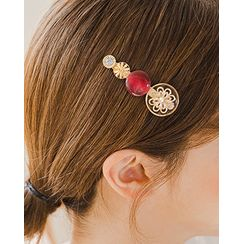 Miss21 Korea - Button-Embellished Hair Clip