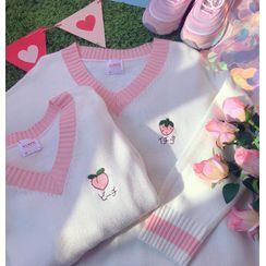 HoneyBomble - Embroidered V-Neck Sweater / Vest