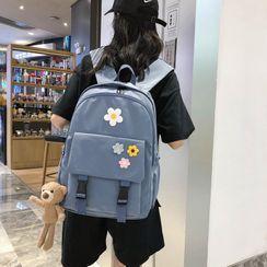 Simone - Flower Applique Nylon Backpack