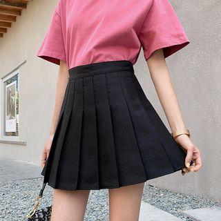 Niji Smile - 假两件短裤纯色百褶裙