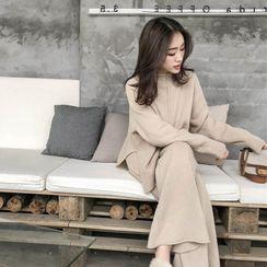 Fancy Show - 套装: 小高领毛衣 + 宽腿裤