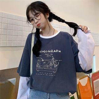 DiBi - Mock Two-Piece Long-Sleeve Graphic Print T-Shirt