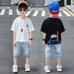 PAM - Kids Set: Short-Sleeve Graphic Print T-Shirt + Denim Shorts