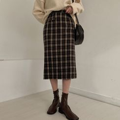 MERONGSHOP - Plaid Long H-Line Skirt