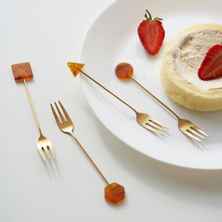 Evebe - Geometric Stainless Steel Fruit Fork / Spoon