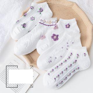Lychee - Set of 4: Floral Print No-show Socks