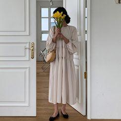 MERONGSHOP - Round-Neck Shirred Maxi Dress