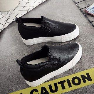 Solejoy - Hidden-Heel Platform Slip-On Sneakers