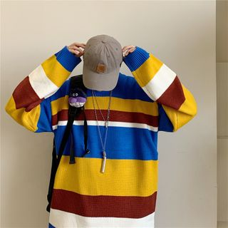 Chuoku - Long Sleeve Striped Knit Top