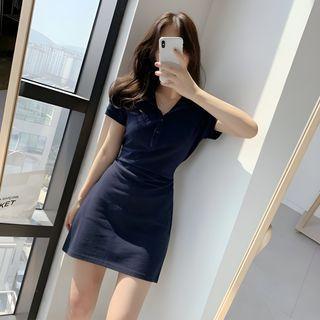 Yunhouse - Short-Sleeve A-Line Mini Polo Dress