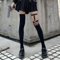 Desperim - Asymmetrical Fishnet Tall Socks