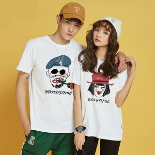 D-SEVEN - Couple Matching Short-Sleeve Print T-Shirt