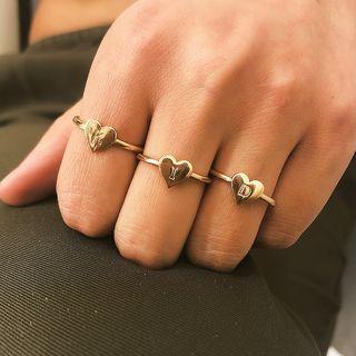 Seirios - Set: Alloy Alphabet Heart Ring