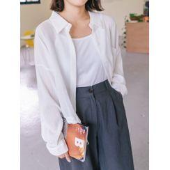 J-ANN - Drop-Shoulder Tie-Hem Shirt