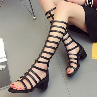 Yoflap - Strappy Block Heel Knee High Roman Sandals