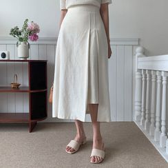 MERONGSHOP - Pleated Cutout Long Skirt