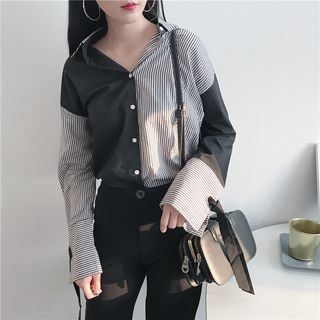 IndiGirl - Striped Long-Sleeve Blouse