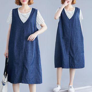 RAIN DEER - Deep blue - Tank Top Denim Skirt Midi Skirt