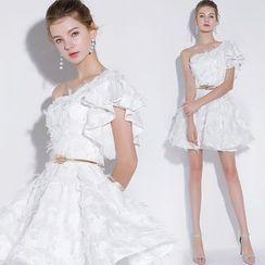 Sennyo - One-Shoulder Fringe Mini Prom Dress / A-Line Evening Gown