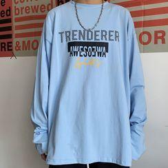 Porstina - Lettering Long-Sleeve Round Neck T-Shirt