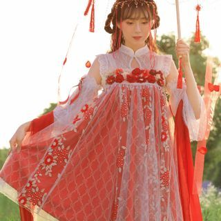 Annstay - Sleeveless Mandarin Collar Embroidered Lolita Dress