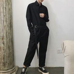 Bjorn - Tie-Waist Long-Sleeve Jumpsuit
