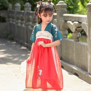 Meroboz - Kids Traditional Chinese Elbow-Sleeve Embroidered A-Line Midi Dress