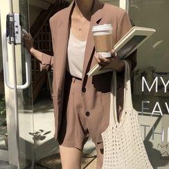 Coris - Plain Single-Breasted Blazer / High-Waist Shorts