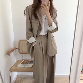 Coris - Single-Breasted Blazer / Wide-Leg Pants