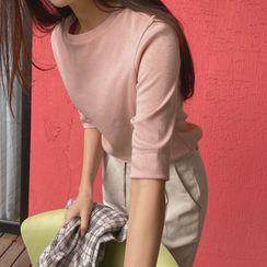 CHERRYKOKO - Elbow-Sleeve Pastel T-Shirt