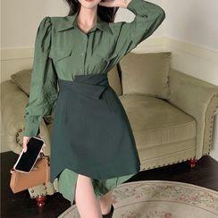 Flowerisque - 泡泡袖襯衫裙 / 不對稱A字裙