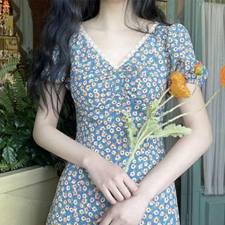 Seven Fairies - Short-Sleeve Floral Print Midi A-Line Dress
